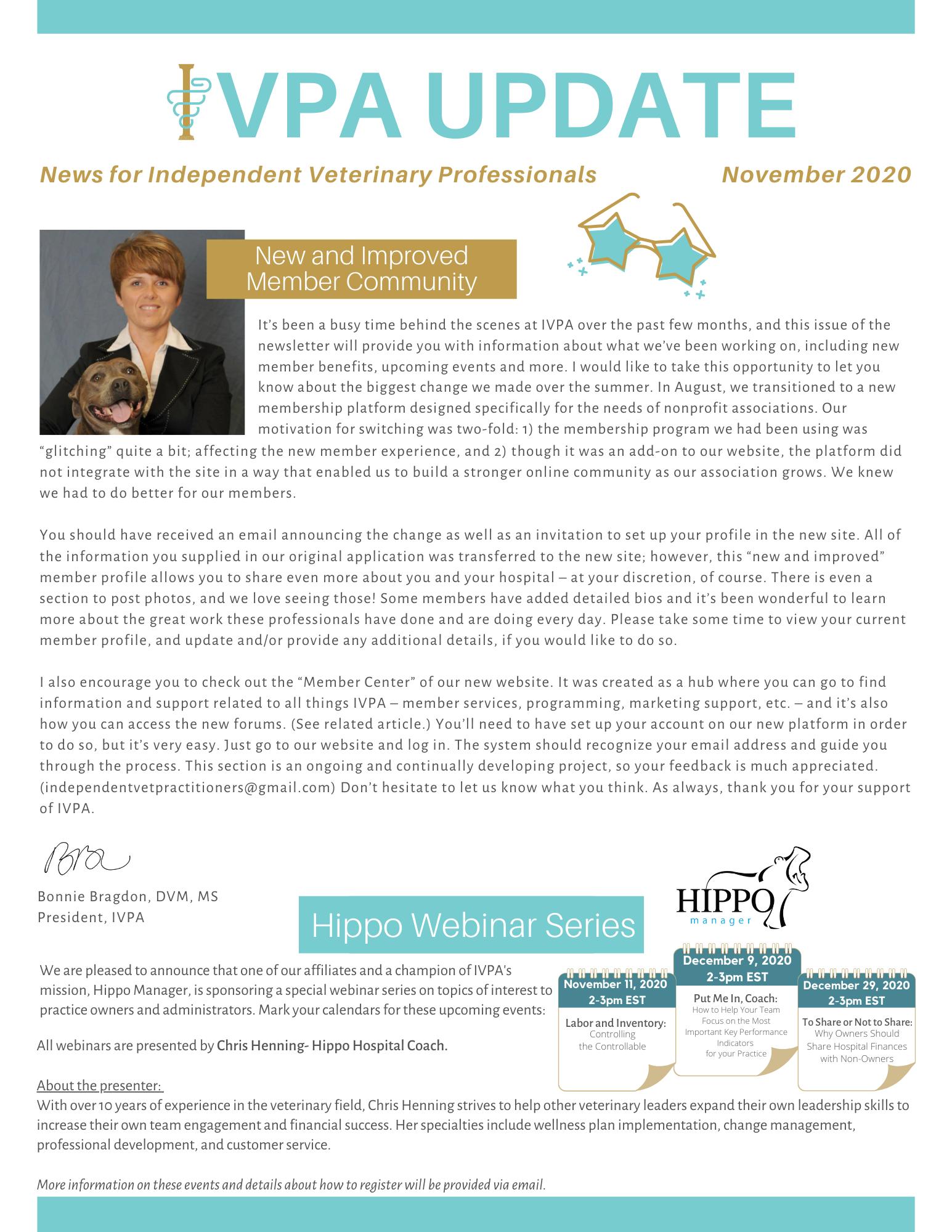 November 2020 IVPA Update